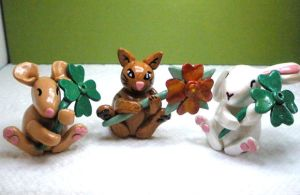 Cute animal figurines - Rat, Cat, Bunny by Brisbykins
