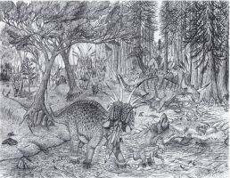 Styracosaurus herd by Paleo-King