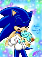 Sonic and Baby Sonic Jr by Sonytheheroine