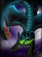Toothless at night by IkariTheMonsterFox