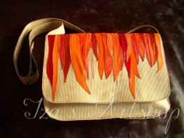Flame Cascade leather messenger bag by izasartshop