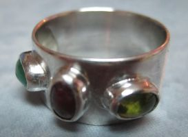 Sterling Silver Family Gem Stone Ring by PMCWorks