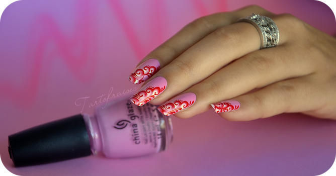 candy one stroke nail art by Tartofraises