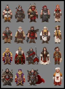 Dwarf characters concept art by AnthonyAvon