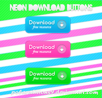 +3 Neon Download Buttons PNG by PilarEditions9