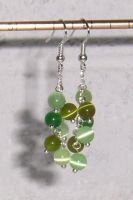 Spring Green Cluster Earrings by mizufusion