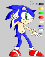 Sonic the Hedgehog with colour by TwinSabreInferno