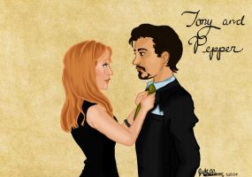 'Pepperony' - Tony and Pepper by kt-grace