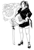 Yakuza Mom, ink work by Numerico