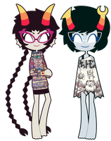 Meenah Peixes and Aranea Serket by nekozneko