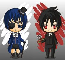 Ciel and Sebastian Chibis by Akuma-Chi