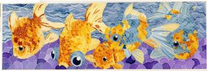 Goldfish Watercolor Mosaic by Jillybean345