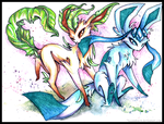Leafeon and Glaceon by IceandSnow