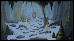 Torchlight cave by CarabARTS