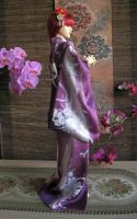 BJD kimono - Silver Roses and Orchids by InarisansCrafts