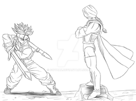 Trunks VS Zarbon by Gothax