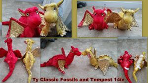 Ty Classic Fossils and Tempest Dragons by Vesperwolfy87