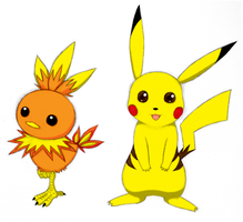 Torchic and Pikachu Colored by ShadOBabe