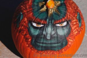 Ganondorf Pumpkin by littlemissysg