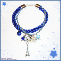 Hand Made Blue Eiffel Tower Charm Bracelet by izka-197