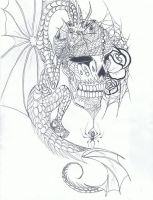 Sugar skull,pirate dragon tattoo. by Wolf-Angel-whitewing