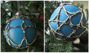 Christmas Ornament - Teal and Gold by PurlyZig