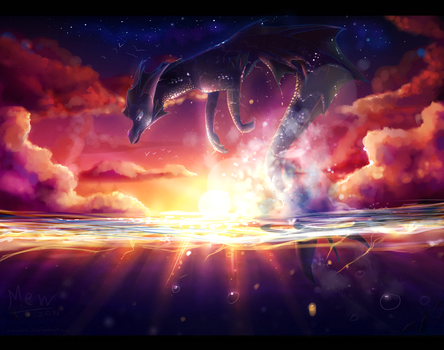 Water dragon in sunset by Mearow