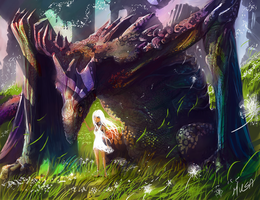 Dragon and little girl by musane