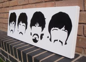 Beatles - Minimal Heads Spraypaint Stencil Canvas by RAMART79