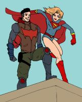 RedHood and Supergirl by Jasontodd1fan