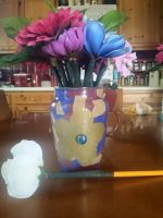 Decoupage Pencil Flower Vase Teacher Gift by VioletTheirin