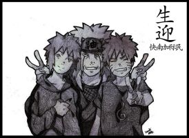 Smile for the Photo - Naruto, Minato and Jiraiya by LucasTsilva