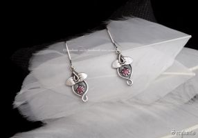 'Orchids', handmade sterling silver earrings by seralune