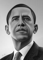 Barack Obama Portrait - 2 - by BenHeine