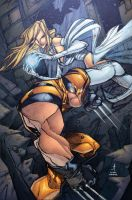 Wolverine and White Queen by AlonsoEspinoza