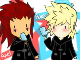 Axel and Roxas Chibis~ by fizzynerd