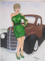 girl and gold pickup by waynemiller-jr