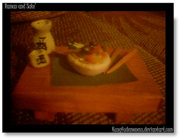 Pocket Ramen and Sake Set by kungfudemoness