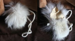 White Arctic wolf fur pouch by lupagreenwolf