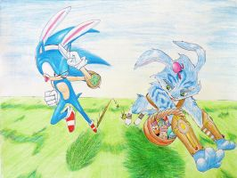 Sonic races: The Easter Bunny by ColourPanne