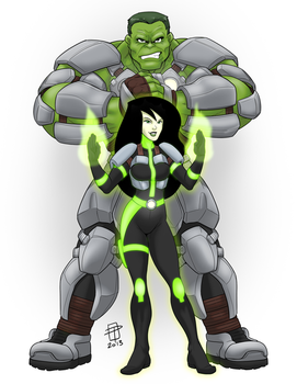 Hulk and Shego- Battle Ready- by CallMePo by GorillaKing18