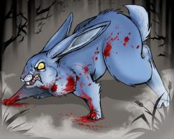 Bloody Blue Bunny by Rodentruler