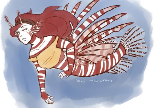 Lionfish Mermaid Redraw by butt-prince-ike