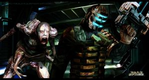Dead Space- Isaac vs. Slasher by ukalayla