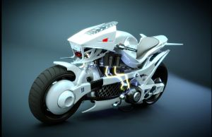 white version of cyber bike by backplate101