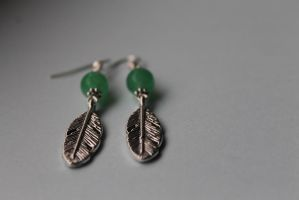 Jade and Silver Feather Earrings by Clerdy