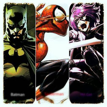 Spiderman Batman and Hit Girl  by WARZylon1337