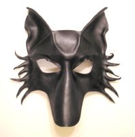 Black Wolf Fox Dog Leather Mask by teonova