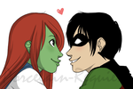 M'gann and Tim - For Xiaoniao by Porcelain-Requiem