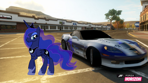 Princess Luna like her Vette by EquestianRacer